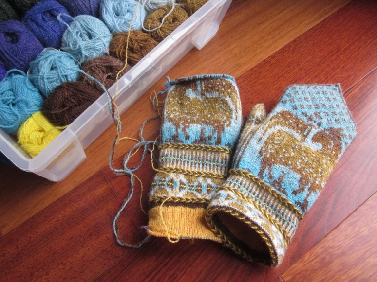 mittens worked in Jamiesons shetland wool