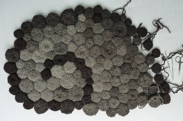 Fran Rushworth's bathmat worked in handspun and crocheted wool
