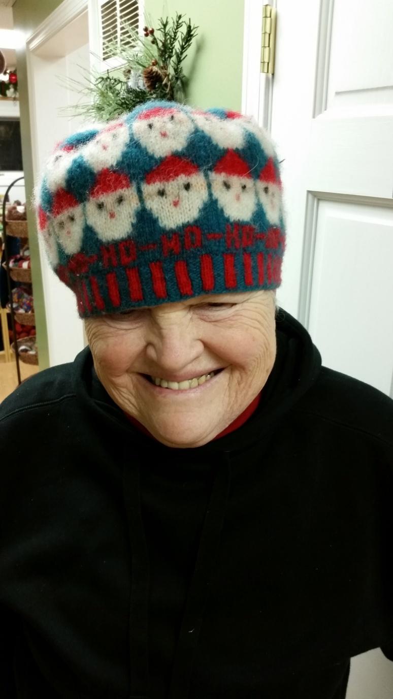 HO HO HO hat worked in 100% WOOL Shetland yarn, then fulled
