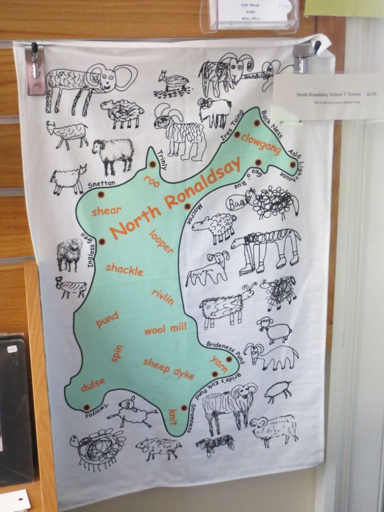 School Tea Towel celebrating North Ronaldsay sheep and wool