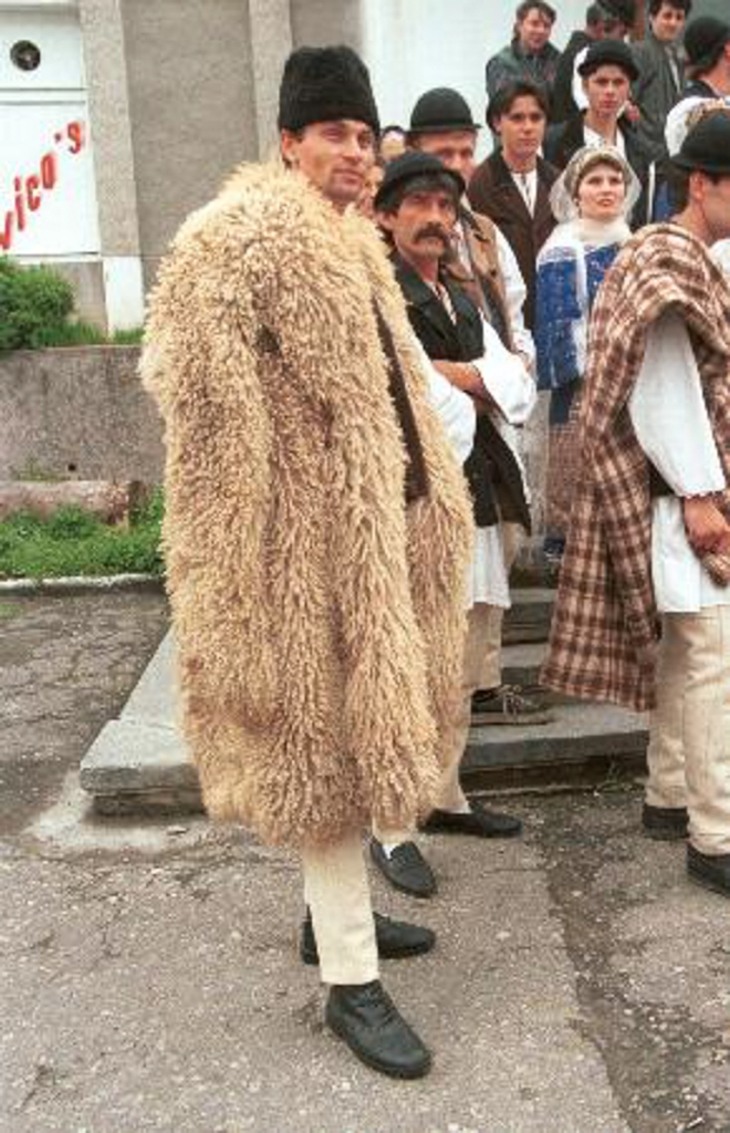Sarică or bituşca, a garment traditionally worn by Romanian shepherds; image found here