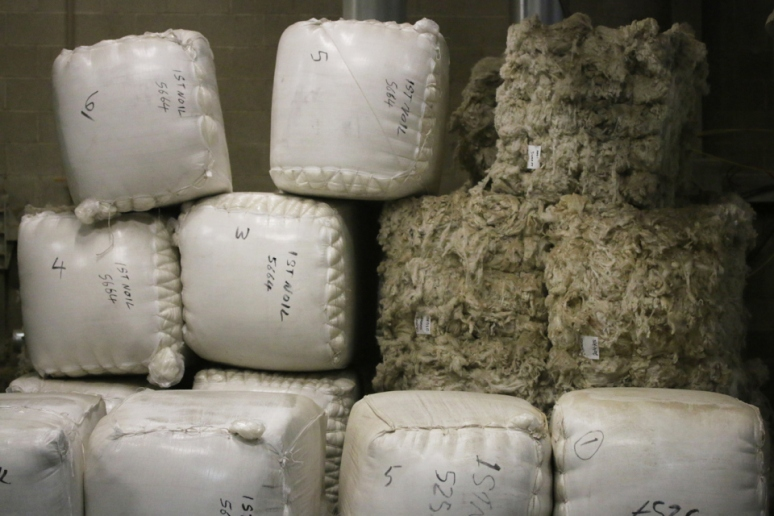 Bales of wool at Haworth, ready to become Buachaille
