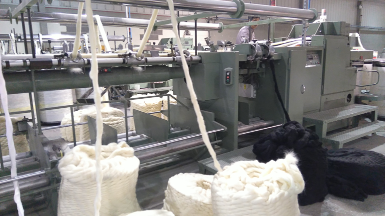 Wool tops at the start of the blending process